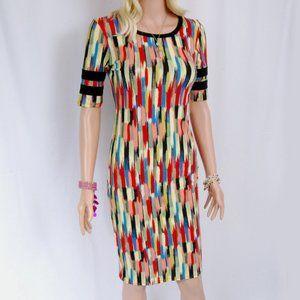 LuLaRoe - Julia Dress Abstract Paint Stroke Stripe